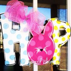 Easter HOP Wood Cut Out Door Hanger by TheWaywardWhimsy on Etsy, $35.00