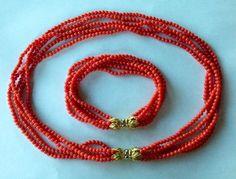 69g Vintage Mediterranean Sardinian Red Salmon Natural Coral Necklace Bracelet | eBay