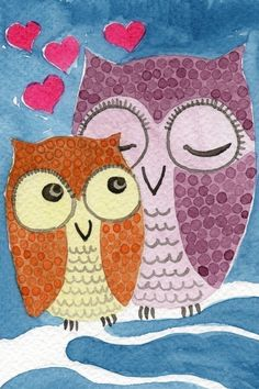 Watercolor Painting: Watercolor Illustration Owl -- Art Print --  Mother Owl and Owlet -- 5x7