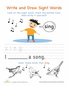 Write and Draw Sight Words - Kindergarten Worksheets | Education.com