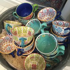 Basket full off fun and beautiful #ceramic #teacups @Anthropologie   #colourpop #colours #colorful #coloursplash #colorsplash #delight #flashesofdelight #nothingisordinary #visualsoflife #thehappynow #instagood #fun #beautiful #pretty #ceramics #mugs #cups_mugs #cups #colorpop #nofilter #nofilterneeded #bestoftheday #round #circles #hunterphoenix
