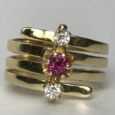 Vintage Ruby and Diamond Ring. Modernist 14K Solid Gold Setting. Unique Engagement Ring. July Birthstone. 15th Anniversary. Estate Jewelry.