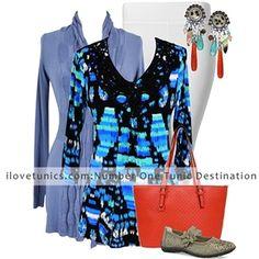 Aqua Blue Black Pattern Tunic~ Best selection of Tunics & matching accessories ~ Flat postage worldwide ~ Petite to Plus sizes ~ www.ilovetunics.com