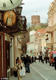 Pilies Street in the Old Town of Vilnius, Lithuania.
