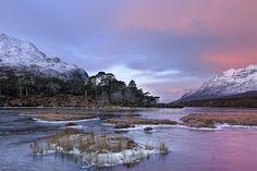 Pink Winter Sunrise on Loch Clair 1- Torridon, Scotland