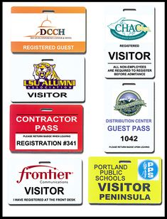 Visitor Badges of all types. Quick Badge and Sign will help design, manufacture and direct ship any type of visitor badges. Your logo or seal are easily added. Lanyards in stock.