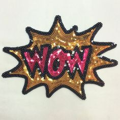 Gold Wow design sequins patch applique Sweater by Laceshine