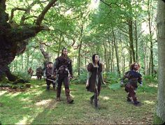 The Enchanted Forest @Snow White and the Huntsman. The Dwarves with the Huntsman and Snow White, starring Chris Hemsworth and Kristen Stewart
