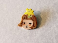 ceramics and glass / Ceramic Flower Girl Pin - wimpi Cute Polymer Clay, Polymer Clay Crafts, Diy Clay, Ceramic Clay, Ceramic Pottery, Glass Ceramic, Girl Scout Sash, Polymer Clay Embroidery, Clay Art Projects