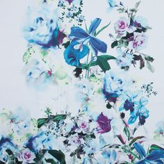 Italian Blue and Green Floral Stretch Cotton Twill