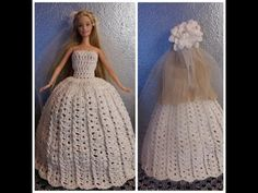 TUTORIAL N° 3 VESTITO DA SPOSA PER BARBIE ALL'UNCINETTO - crochet - YouTube
