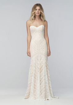 Wtoo Brides strapless lace gown with sweetheart neckline and sheath silhouette I Style: Betty 16137P I https://www.theknot.com/fashion/betty-16137p-wtoo-brides-wedding-dress?utm_source=pinterest.com&utm_medium=social&utm_content=aug2016&utm_campaign=beauty-fashion&utm_simplereach=?sr_share=pinterest