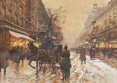 Eugène Galien Laloue - Calèche sur les Grands Boulevards