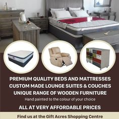 Beds, Mattresses, Wood furniture, Recliners, Lounge and Corner Suites.
