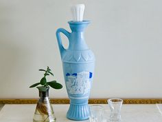 Vintage Blue Greek Jim Beam Decanter, Grecian Whiskey Bottle, Unique Wine Pitcher by microCosmico