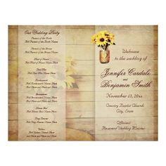 Twine Wrapped Mason Jar Sunflower Wedding Program Flyer to be folded in half. #countrywedding #wedding
