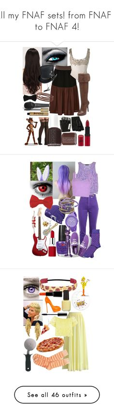 """""""All my FNAF sets! from FNAF 1 to FNAF 4!"""" by thefnaftheorists ❤ liked on Polyvore featuring LeSalon, Alexander McQueen, Clover Canyon, Gemma J, Rimmel, Majesty Black, Jessica Simpson, Essie, flowerie88 and DB Designs"""