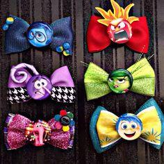 Ribbon crafts, ribbon bows, inside out emotions, elsa hair, disney hair bow Disney Hair Bows, Diy Disney Ears, Disney Diy, Disney Crafts, Diy Ribbon, Ribbon Crafts, Ribbon Bows, Ribbons, Crafts For Kids To Make