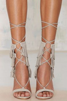 Schutz Kija Fringe Suede Heel - Gray - Shoes | Open Toe | Heels