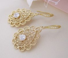 Gatsby Vintage Bridal Earrings Gold Filigree by CherryHillsBridal, $47.00