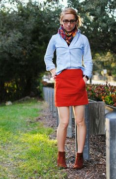 Red skirt short boots