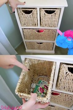 StilaBabe09 YouTube- room tour Storage bins to keep phone chargers and miscellaneous cords