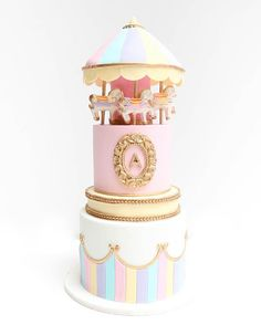 Pastel carousel cake - another version of my carousel cake I previously made