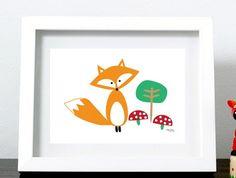 "Fox Art Print 8x10"""