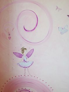 Beautiful design for a little girl's bedroom, adorable fairy surrounded by butterflies and swirls. Joanna Perry is a qualified artist based in Chesire, England. Joanna specialises in creating stunning hand painted children's murals, which are certain to enhance any room and make an exciting alternative to wallpaper or stickers.