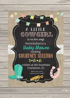 Cowgirl Baby Shower  invitations printable or digital file -western- any colors