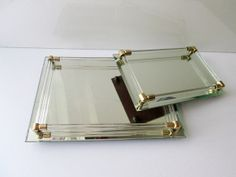 Two Vintage Mirror Trays with Glass Rails Dresser by Collectique, $24.00