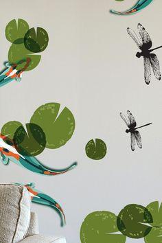 Koi and dragonflies on a wall
