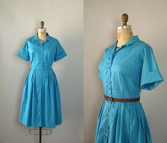 Vintage 1960s Dress  60s Teal Blue Shirtwaist Day by Sweetbeefinds, $68.00
