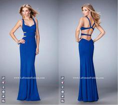 La Femme Prom style -  22181 long prom dress - blue prom dress - formal dress - open back - side cutouts - sweetheart neckline - sleeveless dress