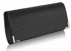 #psaníčko Elegantní lesklé perleťové (glitterové) černé večerní psaníčko LS fashion s klopou. Kovové detaily jsou ve zlatém provedení včetně přídavného řetízku.
