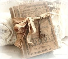 Vintage Book - 13.50 - This is an awesome  Vintage Book !  I just love finding old books  and using them for  vignettes ~  This one has been tied  with vintage lace and an  old skeleton key ~ http://www.katiesrosecottagedesigns.com