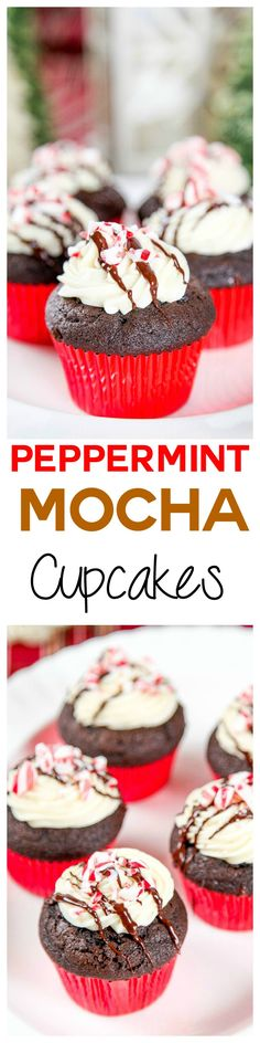 Peppermint Mocha Cupcakes: Moist chocolate cupcakes topped with creamy peppermint buttercream and a decadent chocolate drizzle. Your favorite holiday coffee in cupcake form!