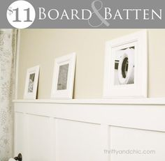 DIY Board and Batten -This bathroom was done for only $11! http://www.thriftyandchic.com/2012/04/cheap-and-chic-board-and-batten.html?m=1