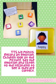 Using TTS big points (talking tins) to record emotions. Phonics Activities, Activities For Kids, Activity Ideas, Preschool Displays, Understanding Emotions, Continuous Provision, Eyfs, Small Groups, Literacy