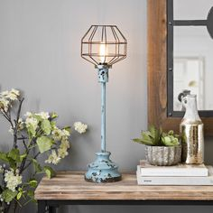 Freshen up your décor with a pop of color with our Distressed Turquoise Edison Bulb Table Lamp! Its industrial style is the perfect accent for your space. Edison Bulb Table Lamp, Table Lamps, Decorative Lamps, Plant Hanger, Industrial Style, Pendant Lighting, Color Pop, Interior Decorating, Sweet Home