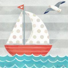 Let's Set Sail Boat by Anne Bollman Canvas Art