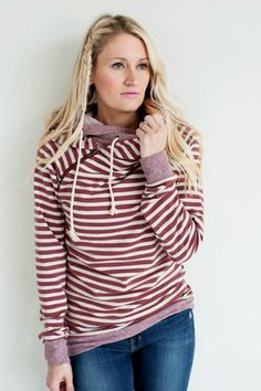 Double Hooded Sweatshirt - Rusted Stripes – Mindy Mae's Market
