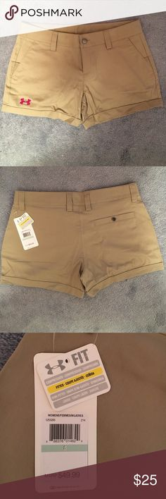 NEW Size 8 Under Armour tan short. Brand new, with tags. Tan, heat gear, semi fitted Under Armour shorts. Under Armour Shorts Cargos
