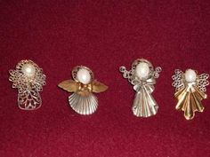 Angel metal brooch pins (set of Stocking Stuffers For Women, Christmas Jewelry, Brooch Pin, Brooches, Retro Vintage, Shells, Stockings, Angel, Metal