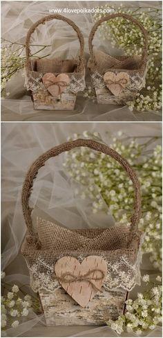Rustic country burlap flower girl baskets
