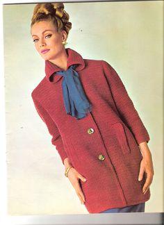 Vintage Knit Car Coat Pattern - (U23) | Coat patterns, Vintage ...