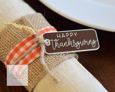 Set 5 Thanksgiving napkin place setting tags grateful give Thanksgiving Place Cards, Happy Thanksgiving, Plastic Tags, Cute Charms, Give Thanks, Place Settings, Twine, Grateful, Whimsical