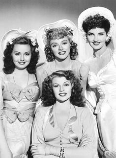 Rita Hayworth with her co-stars Adele Mara, Leslie Brooks and Isobel Elsom in a promotional photo for You Were Never Lovelier (1942)
