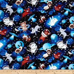 Timeless Treasures Space Cats Space from @fabricdotcom  From Timeless Treasures, this cotton print is perfect for quilting, apparel, and home decor accents. Colors include shades of blue, white, beige, brown, orange, and grey.