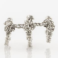 Handmade triple ring knot rope ring made using ethically sourced recycled and Fairtrade metals. Rope Jewelry, Bespoke Jewellery, Knots, Metal, Rings, Handmade, Collection, Hand Made, Knot